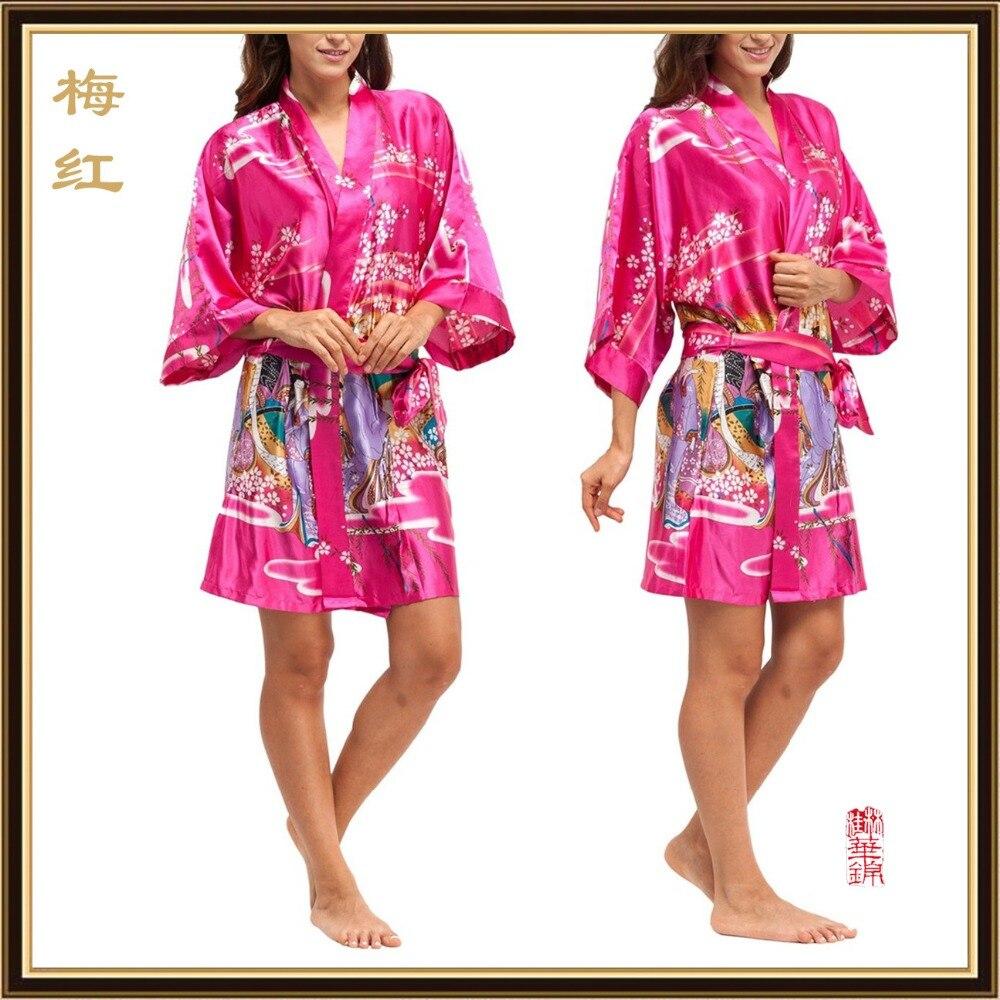 2016 seda Kimono trajes para las mujeres satén Albornoz Trajes de ...