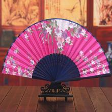 10pcs/lot Handmade Arts Crafts Folding Bamboo Silk Fans Flower Pattern Handfans Girls Dance Accessories H130