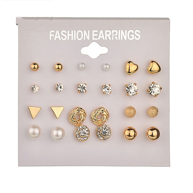 12 Pair Earrings Set Fashion Women Crystal Stud Earrings Brincos For Women Piercing Pearl Flower Earrings Jewelry Free Shipping