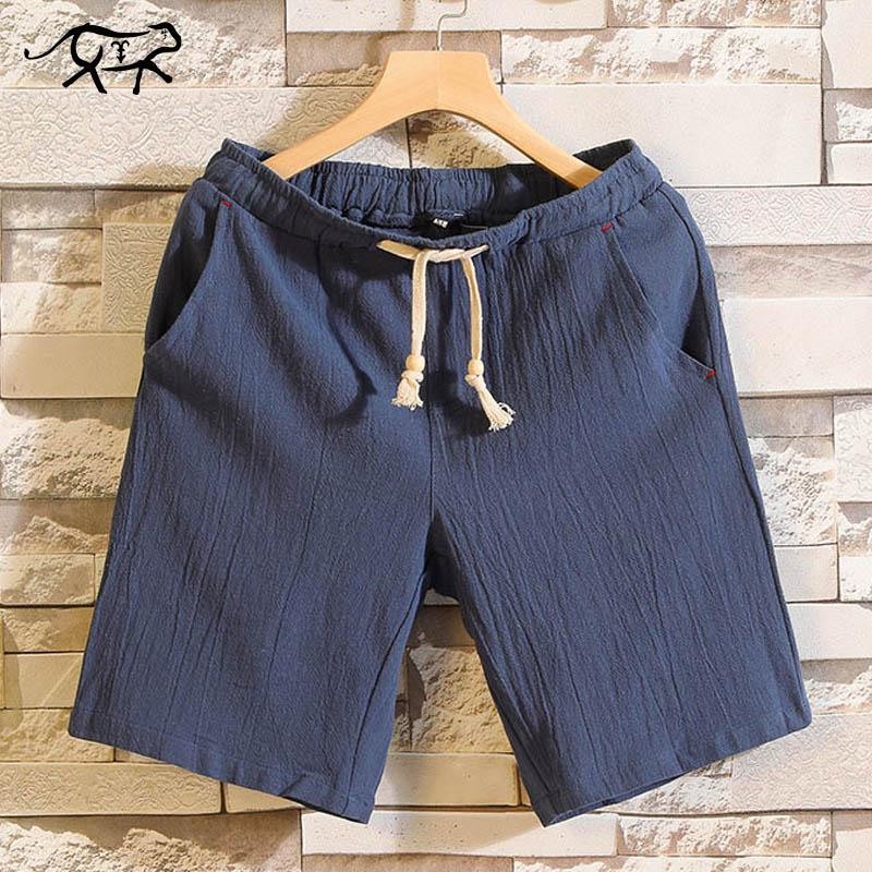 Cotton Casual Shorts Men Solid Elastic Waist Fashion Brand Beach Shorts Thin Breathable Bermuda Slim Fit Summer Board Shorts Man