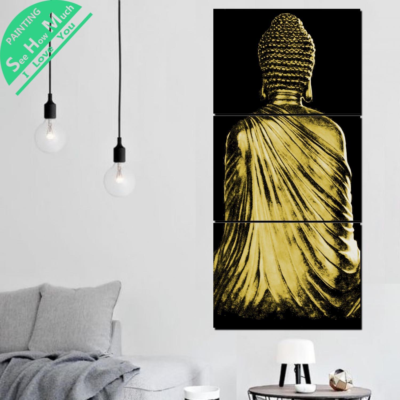 купить!  3 Шт. Вид на Золотой Будда Холст Декоративная Картина Стены Плакат Современные Настенные Панно для  Лучший!