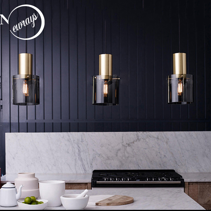 Modern Personality E14 Led Single Head Pendant Lamps Smoke Gray Glass Kitchen Bedroom Bedside Study Restaurant Hanging Light