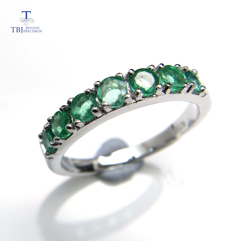 TBJ, 100% natural green emerald gemstone ring in 925 sterling silver fine jewelry for women ,Real zambia emerald Ring with box tbj delicate small ring with natural good color blue tanzanite gemstone lady ring in 925 sterling silver fine jewelry for women