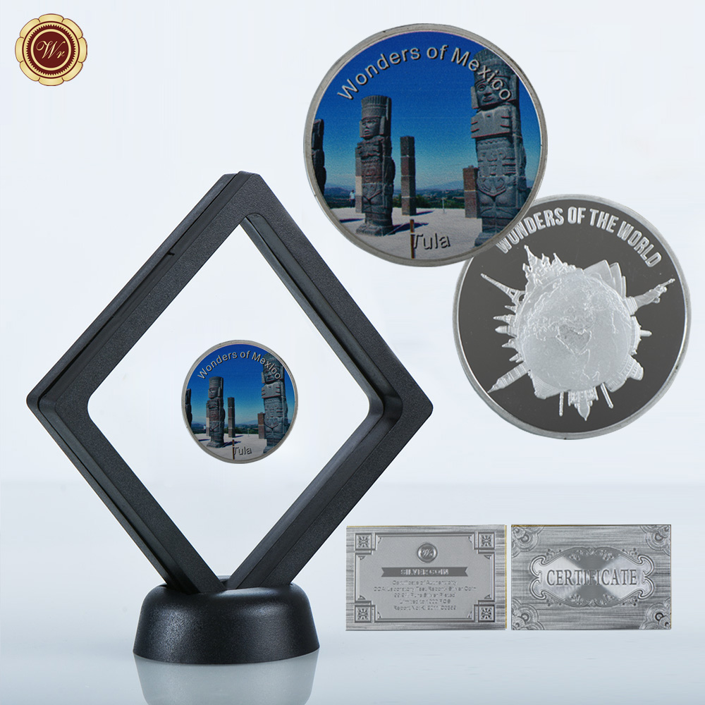 WR Quality 999 9 24k Silver Coins Mexico Tula Commemorative Metal Coin with  Black Display Case Home Decorative Collection