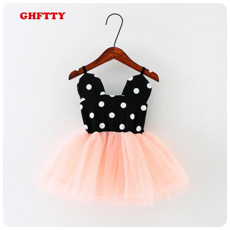 GHFTTY Girl Dresses 2019 여름 소녀 파티 드레스 아기 생일 투투 드레스 소녀 레이스 조끼 드레스 아동 옷 미니 마우스