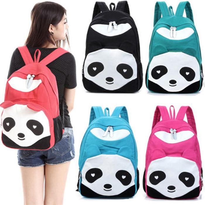 fashion Fashion Lovely Panda Canvas Women Backpack School Bag Student Bags For College Girls Teenagers Mochilas Cas free shipping casual canvas backpack school bag student backpack panda backpack