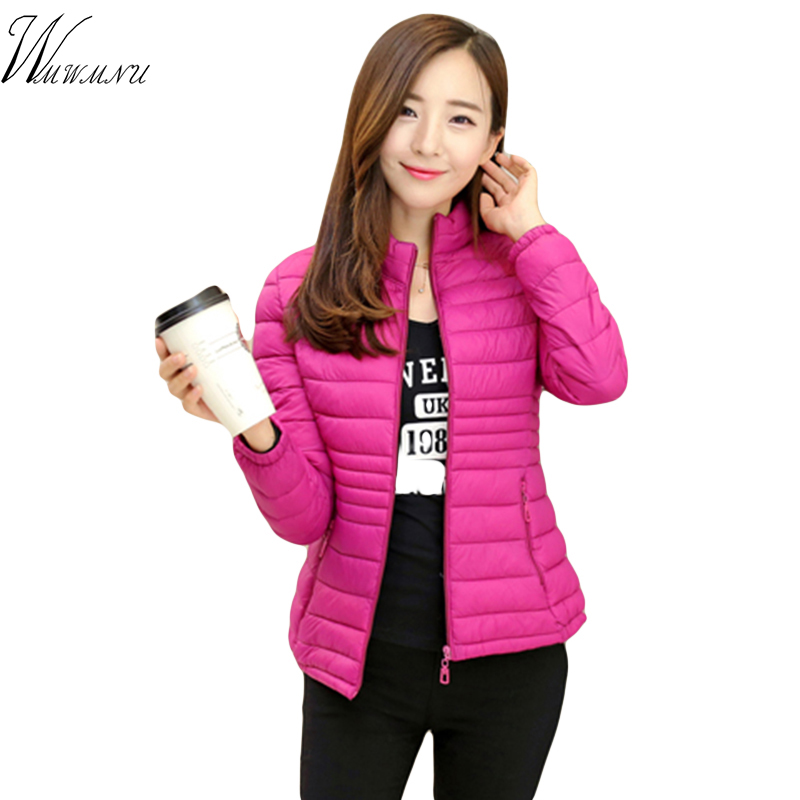 autumn ladies ultralight short jacket stand collar solid colors cotton wadded coat for women slim outwear plus size casual   parka