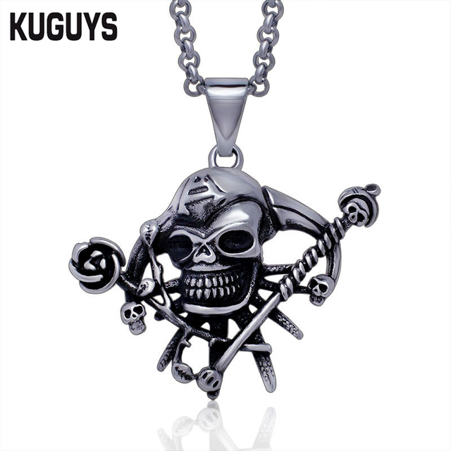 Kuguys fashion stainless steel jewelry guns n roses skull pendant kuguys fashion stainless steel jewelry guns n roses skull pendant necklace pirate punk rock pendants mozeypictures Images