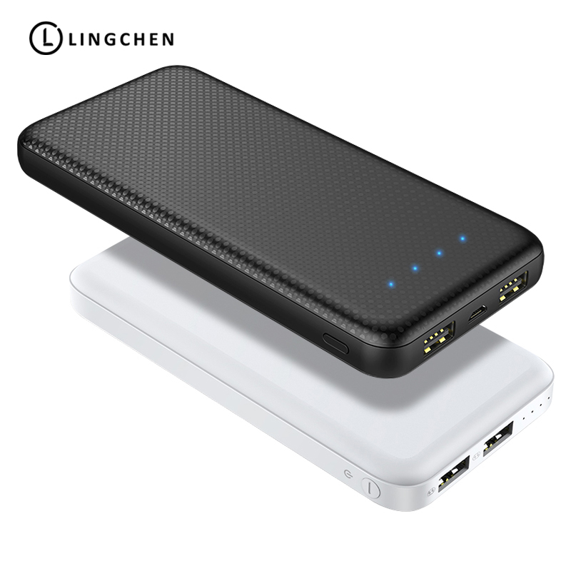 Lingchen Power Bank 10000Mah Powerbank 2.1A External Battery Portable Mobile Phone Dual Usb Lithium Polymer Powerbank Bag