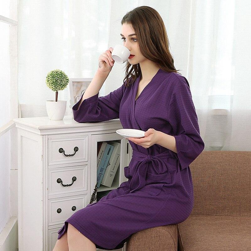 d471a8e38e Summer Purple waffle Ladies Lightweight Summer Jersey Bath Robe 100% Cotton  Dressing Gown House Coat