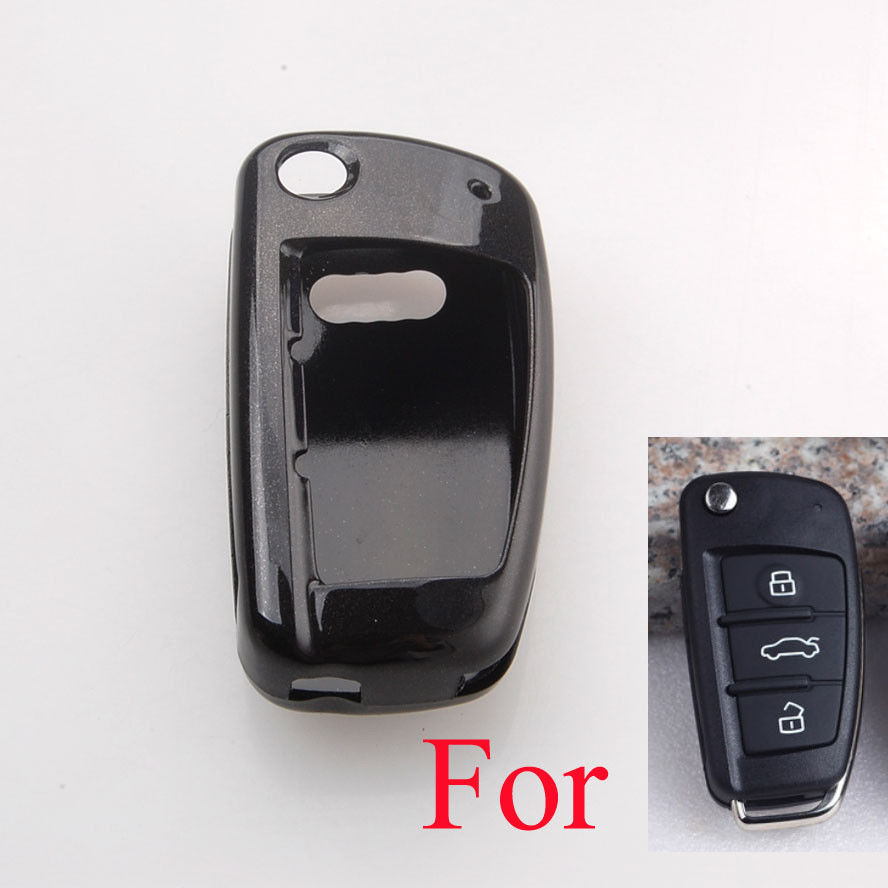 BBQ@FUKA Paint Metallic Color Remote Key Holder Shell Cover Fit For Audi A3 A6 Q7 Flip Remote Key Case Black/White