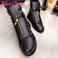 Akexiya Hombres Zapatos de Cuero de Invierno de Alta Superior Del Cráneo de Oro Diseño de la Cremallera Hombres Zapatos de Hip Hop Skeleton Mens Joggers Zapatillas Homme