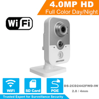 DS 2CD2442FWD IW Hik New MINI 4MP IR Cube Wireless Camera POE IP Camera WIFI Built