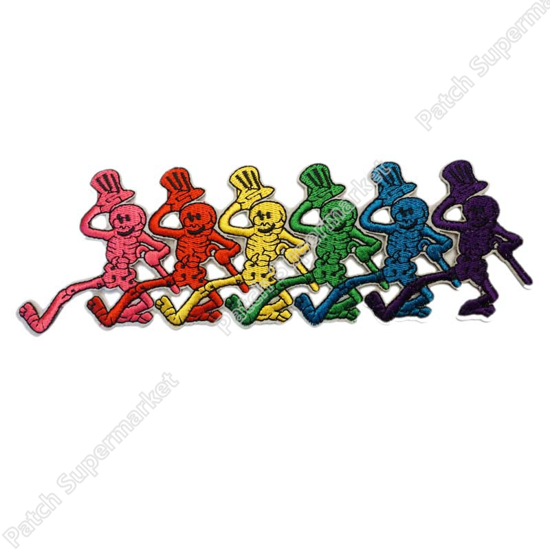 9 5 LARGE Grateful Dead Dancing Skeleton Strip Music Band Heavy Metal Iron On Patch TRANSFER