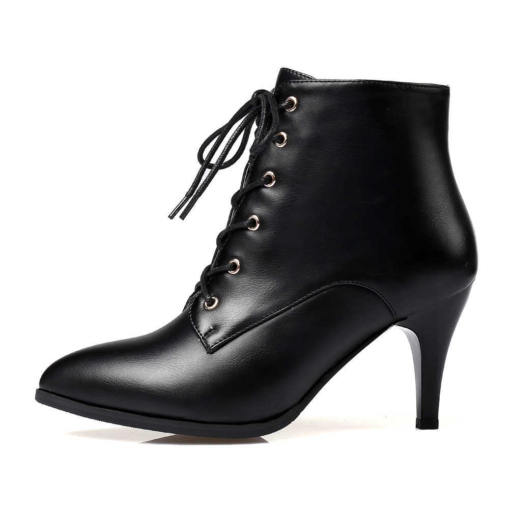 Meotina yarım çizmeler Kış Kadın Çizmeler Dantel Kadar Yüksek Topuk kısa çizmeler Sivri Burun Kare Topuk Ayakkabı Kadın Fermuar Artı Boyutu 33 -43