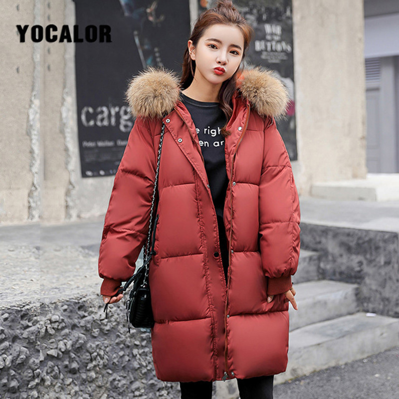 Plus Size Winter Fur Hood Coats Cotton Long Coat Quilted Puffer Jacket Women Warm   Parka   Feminina Outerwear   Parkas   Snow Wear Uk
