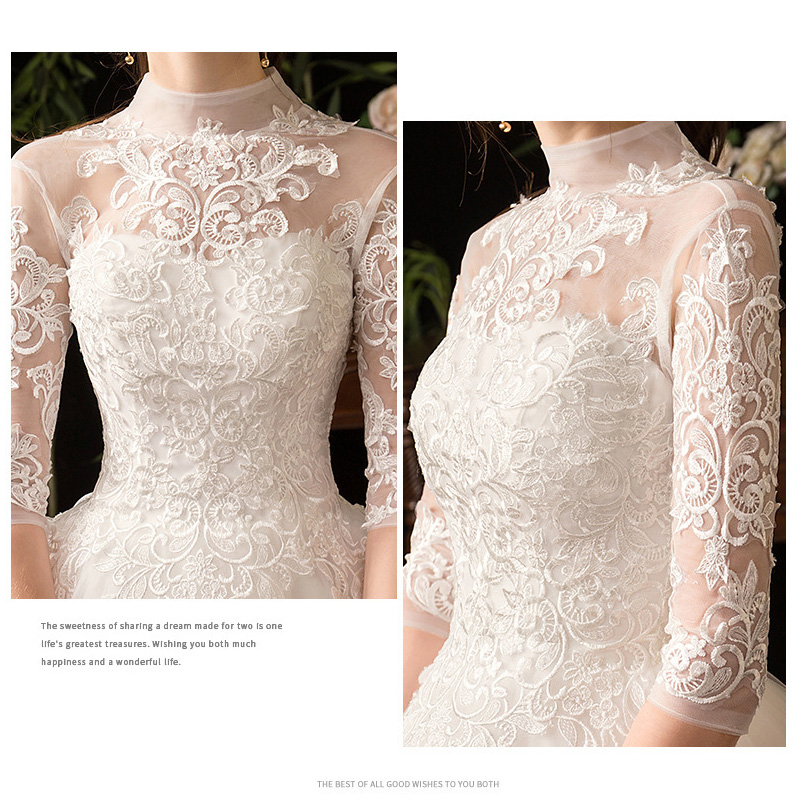 Image 5 - Chinese Style High Neck Half Sleeve 2019 New Wedding Dress  Illusion Lace Applique Simple Custom Made Bridal Gown Robe De  MarieeWedding Dresses