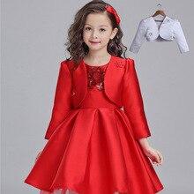Детская Одежда Новая Осень Зима Девушки Платье Принцессы Костюм Дети Одежда Красный Шелк с Куртки Сетки Цветы
