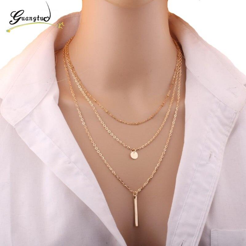 1 шт., Трендовое простое многослойное ожерелье с кисточками, ожерелье, цепочки на ключицы, женские модные украшения для шеи, декоративные при...