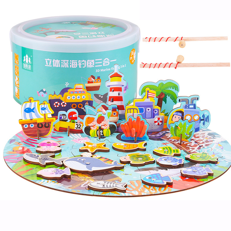 Children 3 in 1 Magnetic Wooden Fishing Toy Game Kids 3D Marine Fun Farm Fish Puzzle Toy Educational Toys Outdoor Fun Toy