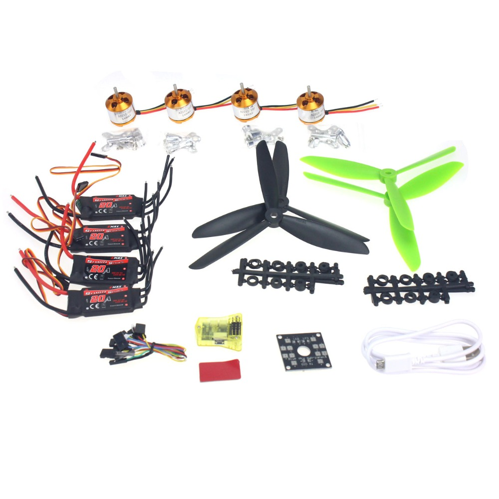 цены Flight Control Opensource EMAX 20A ESC 1400KV Brushless Motor 7045 Propeller for CC3D 250 4-axis DIY Mini Drone F02047-B