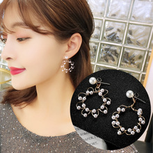 2019 New Korea Irregular Pearl Woven Ring Earrings Temperament Simple Fashion Jewelry