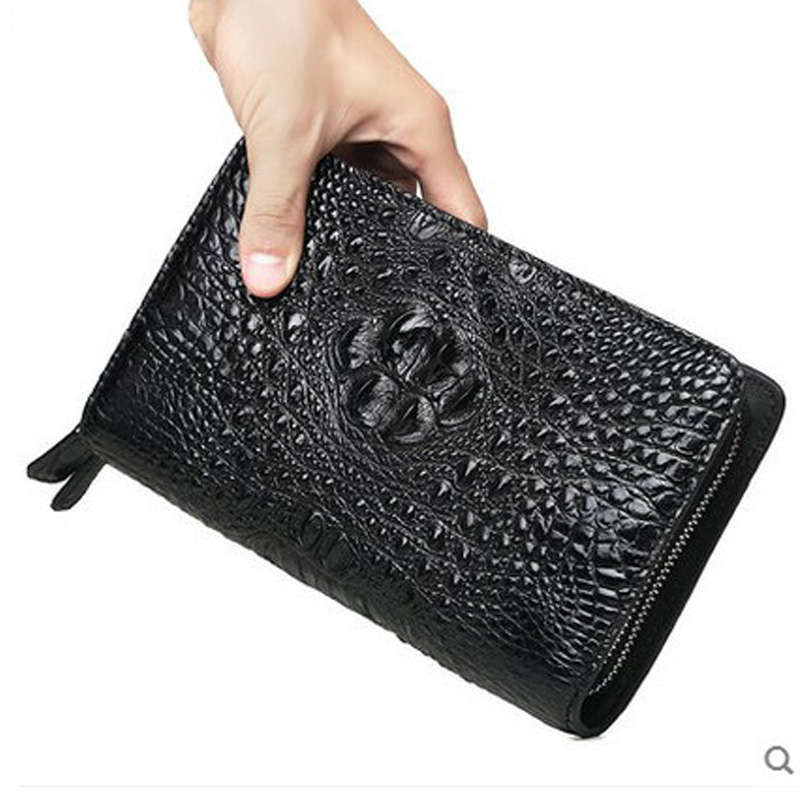 VV crocodile skin men clutch bag grab bag crocodile leather luxury large capacity long hand grab bag male bag tassel charm grab bag 3pcs