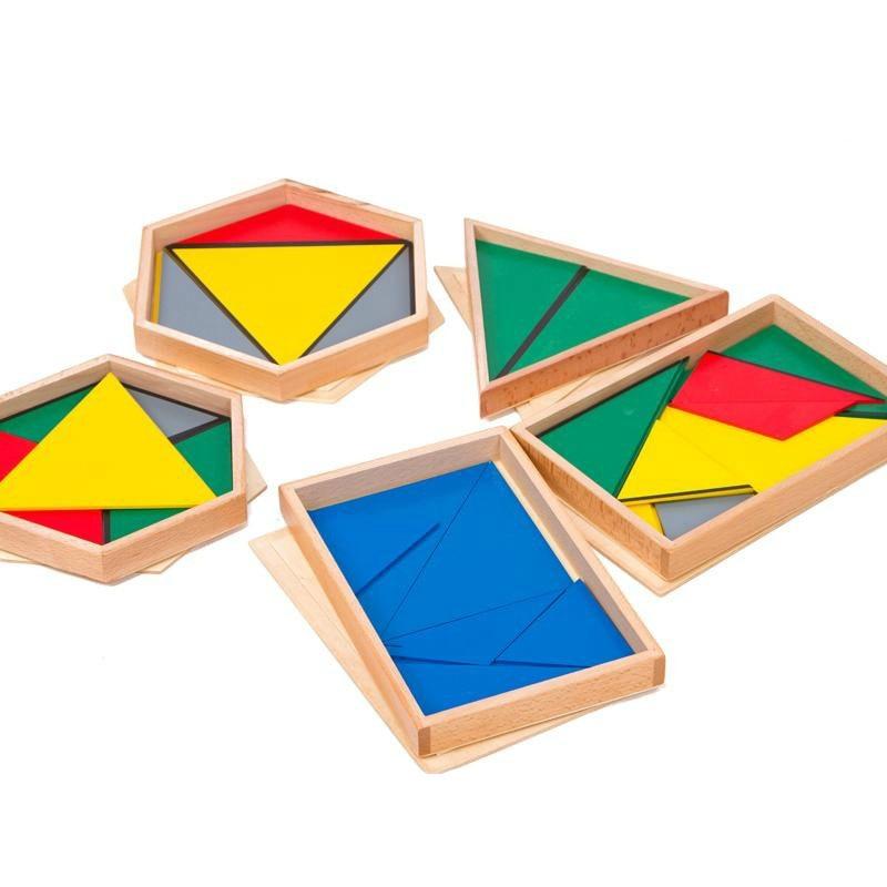 Wooden Montessori Toys Montessori Constructive Triangles Preschool Educational Learning Toys For Kids Juguetes Brinquedos MI2544
