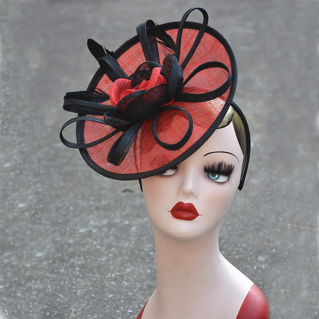 Sinamay Fascinator Hats Orange Black Women Headpiece Kentucky Derby Church Wedding Party Las Headbands T246