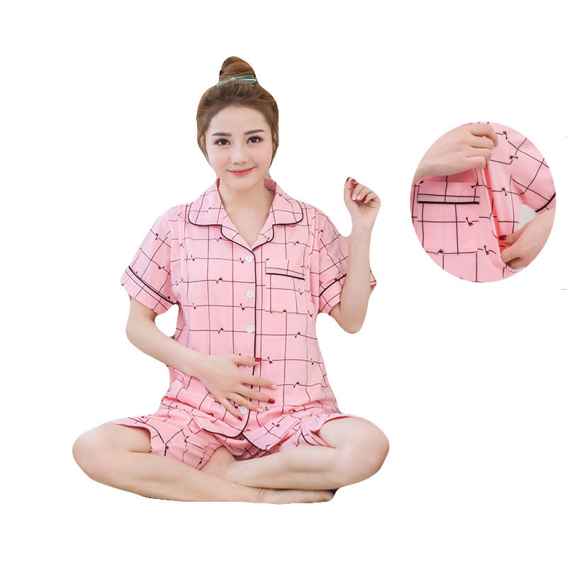 Pregnant Women Short Sleeve Shorts Set pajama suit Printing Nursing Clothes Nightgown Maternity Cotton Breastfeeding Sleepwear