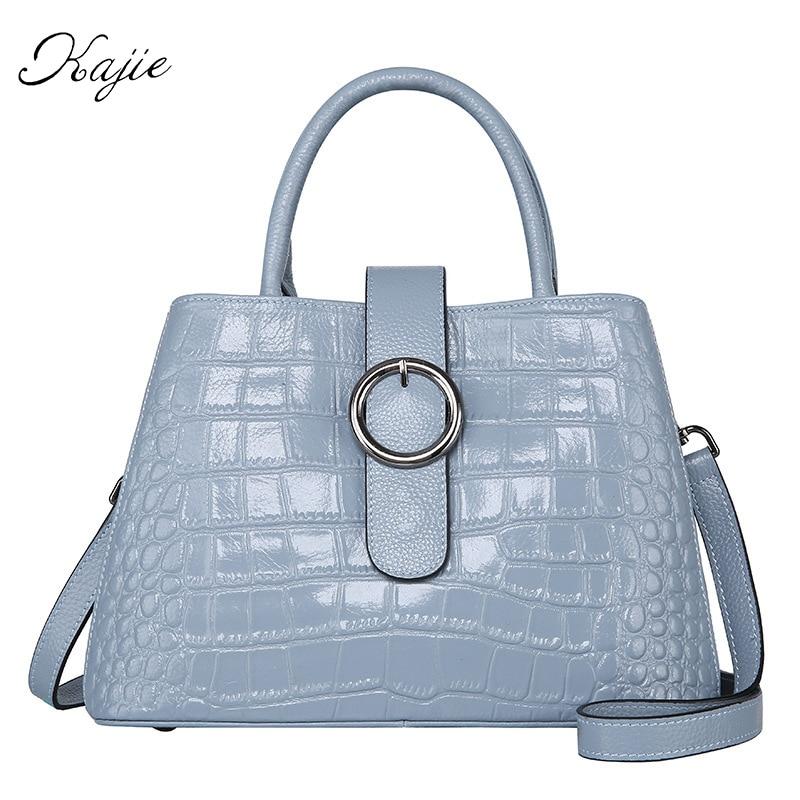 Kajie 2017 New Genuine Leather Luxury Handbags Women Bags Designer Woman Cover With Zipper Crocodile Pattern Shoulder Tote new 100% handmade woven leather handbags tote women shoulder bags with detachable zipper pouch