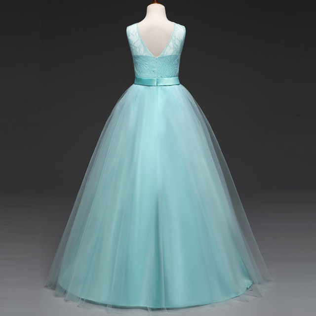 Us 9 97 30 Off Girls Maxi Dress Wedding Kids Prom Long Dress Lavender Light Blue Hot Pink Red White Mint Green Ball Gowns For Children In Dresses