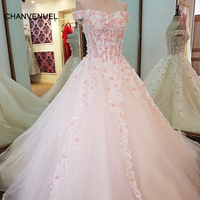 LS63080 ivory bride dresses with 3D pink flowers ball gown lace up back beading crystals abito da sposa real photos china online
