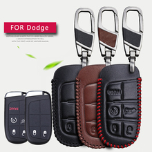 Genuine Leather Car Smart Key Case Cover For Dodge Ram 1500 Journey Charger Dart Challenger Durango For Fiat Jeep Key Ring Shell все цены
