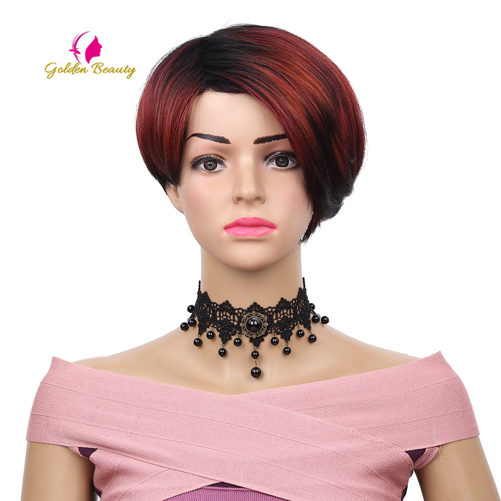 Golden Beauty 8inch short Silky straight Cosplay Wig Synthetic hair Side Part Full Head Bob Wigs for Women