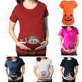 Pekín hamile t-shirt Muchacho de La Vaca diseño Múltiple divertido de manga corta Casual T-Shirt ropa de Maternidad para las mujeres embarazadas Más tamaño