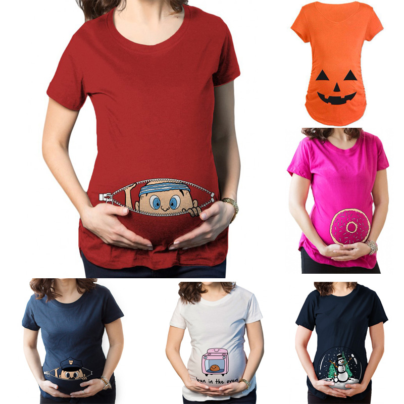 hamile t-shirt Peking Cow Boy Multiple design short sleeve Casual funny Maternity T-Shirt clothes for pregnant women Plus size Y
