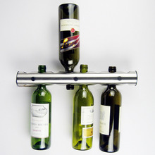 new coming creative wine rack holder 12 holes stainless steel home bar wall vertical wine bottle stand for bar decoration