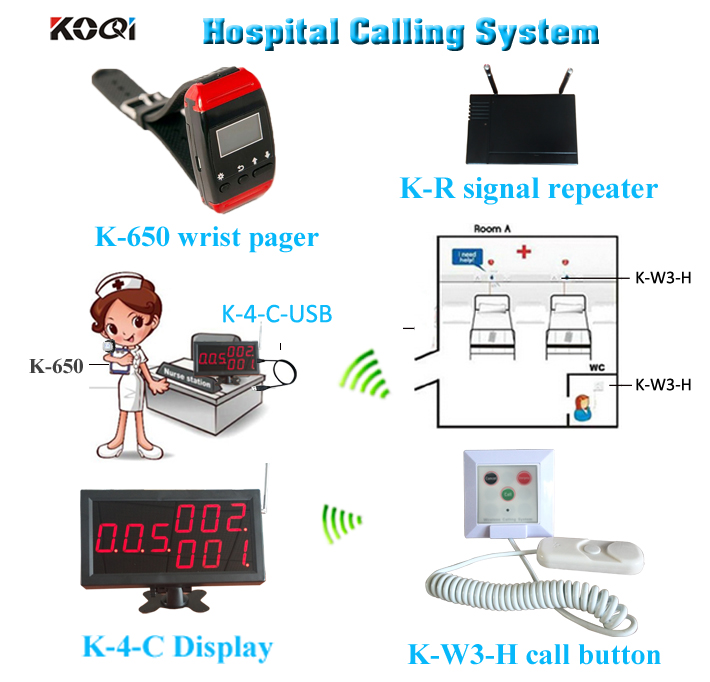 Ycall 433mhz emergency call button wrist watch pager with amplifier for patient call system