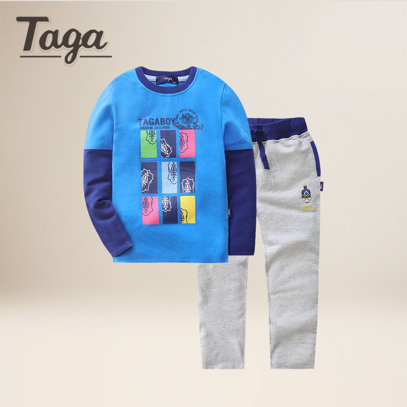 TAGA 2017 new arrival childrens clothing kids boys clothes long sleeved T-shirt Loose pants 2 pieces  sports casual comfortable