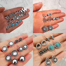 Bohemian Starfish Wave Turtle Shell Stud Earrings Set For Women Vintage Rudder Heart Round Earring Statement Jewelry