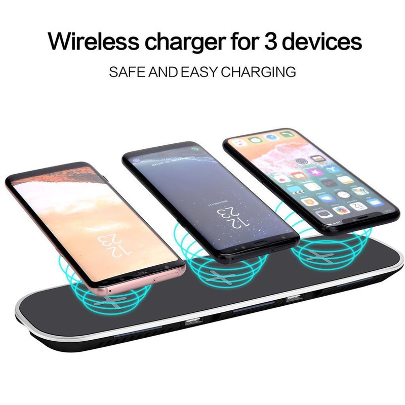 3 in 1 Qi Wireless Charger Pad Stand With 2 USB Charging Ports For iPhone X 8 8 Plus Samsung Note 8 S8 + Fast Wireless Charging