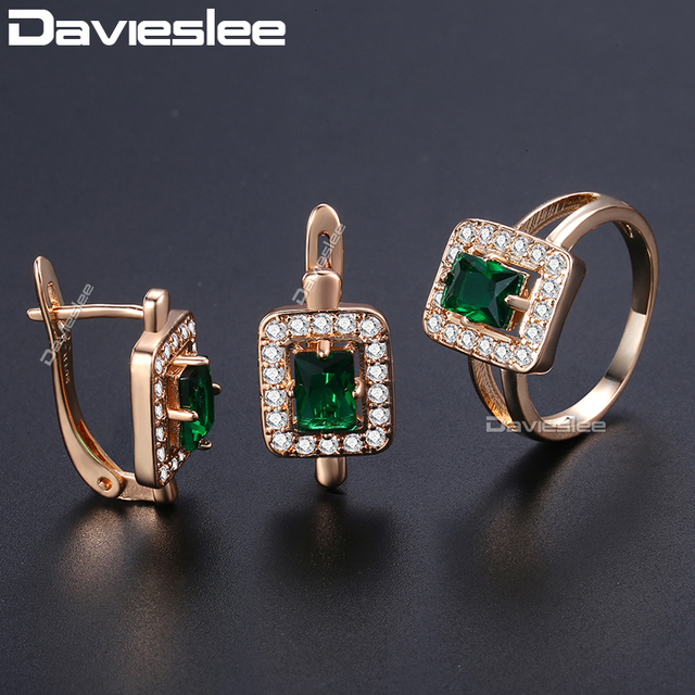 Davieslee Square Green Stone Stud Earring Ring For Women 585 Rose Gold Filled Pa