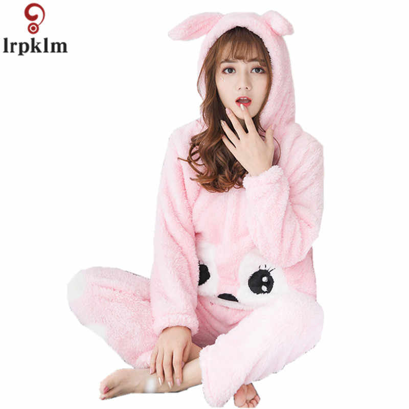 Women Cartoon Pajamas Hooded Clothing Two Piece Suits Night Wear Clothes  Female Winter Autumn Pajama Nighty 1a6c26fd9