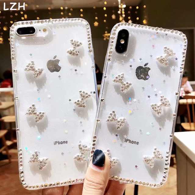 9b34d88020e Luxury Rhinestone Diamond Bling Case for Apple iPhone XR XS X 6 6S 7 8 Plus  DIY 3D Bowknot Glitter Clear Cover for iPhone XS Max