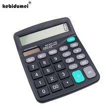 Kebidumei calculadora eletrônica portátil escritório ferramenta comercial bateria solar 2 em 1 alimentado de 12 dígitos com botão grande