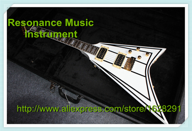 Cheap Custom Shop White Jack Randy Rhoads Jack.son Electric China Guitar Golden Hardware with Hardcase