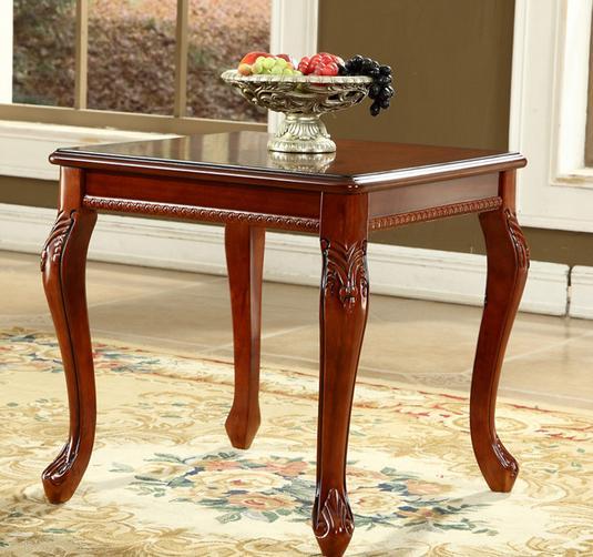 Table basse en bois massif de style européen coin carré table d'appoint rétro table basse latérale américaine moderne petites tables