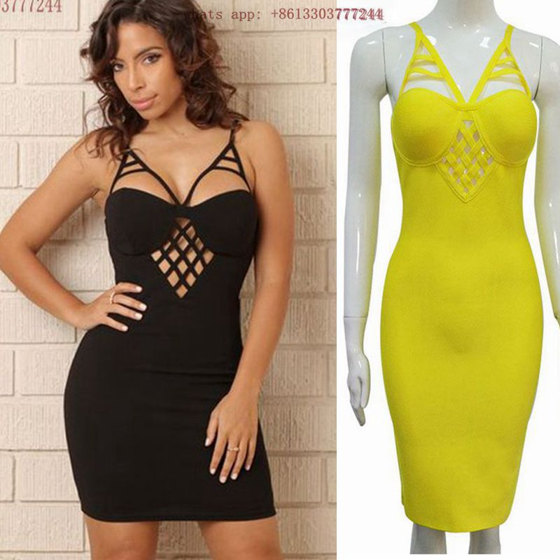 2017 yellow black spaghetti strap women summer vestido sexy chic hollow out backless cocktail party dresses top quality