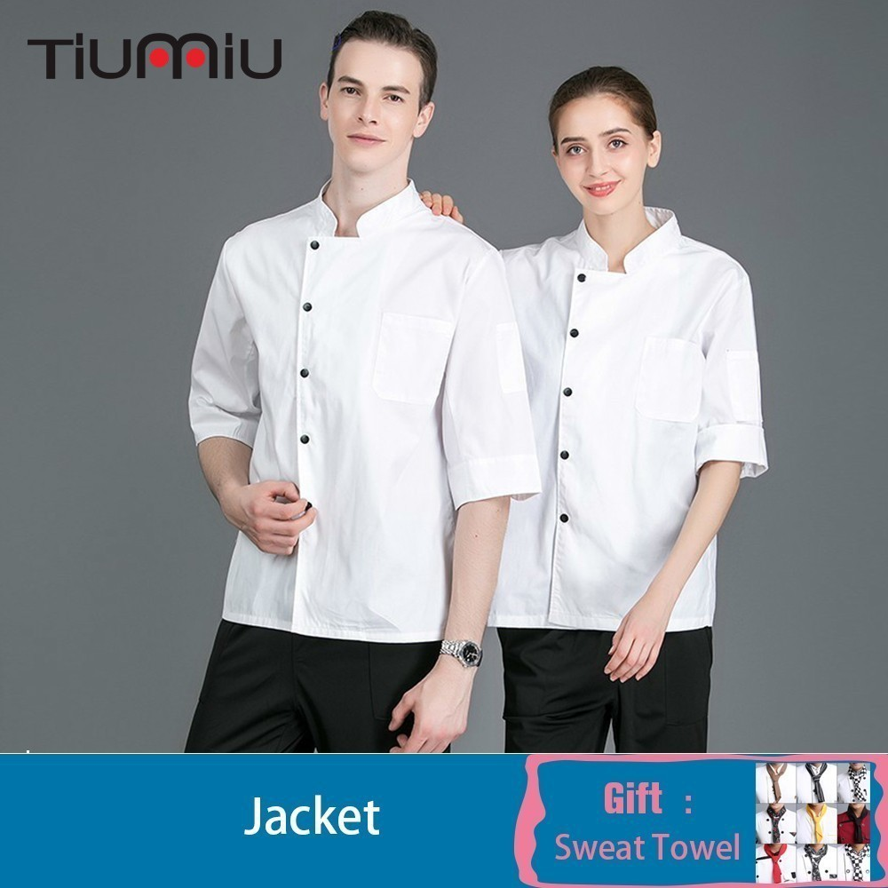 Chef Jacket Solid Color Seven-quarter Sleeve Cook Waiter Uniform Kitchen Restaurant Catering Hotel Cafe Overalls Free Scarf Gift